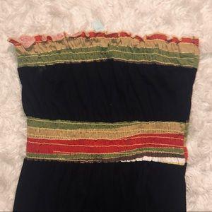voll Dresses - Voll Strapless Striped Black Bunch it up Dress